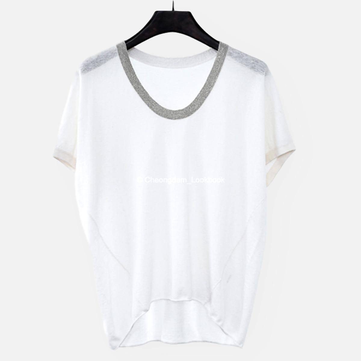 쿠치 비즈 U넥 티셔츠